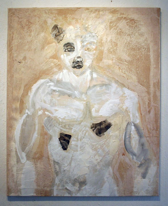 827-pi-80x100-2016.jpg - Painting,  80x100 cm ©2016 by Richard Brachais -                                                                        Contemporary painting, Canvas, Body, Portraits, portrait, corps, figuration, abstraction