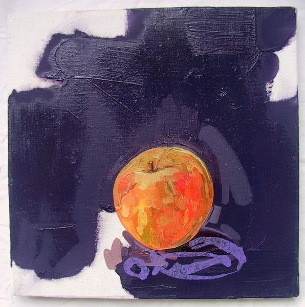 Pomme (sur fond violet) - Painting,  11.8x11.8 in, ©2005 by Richard Brachais -