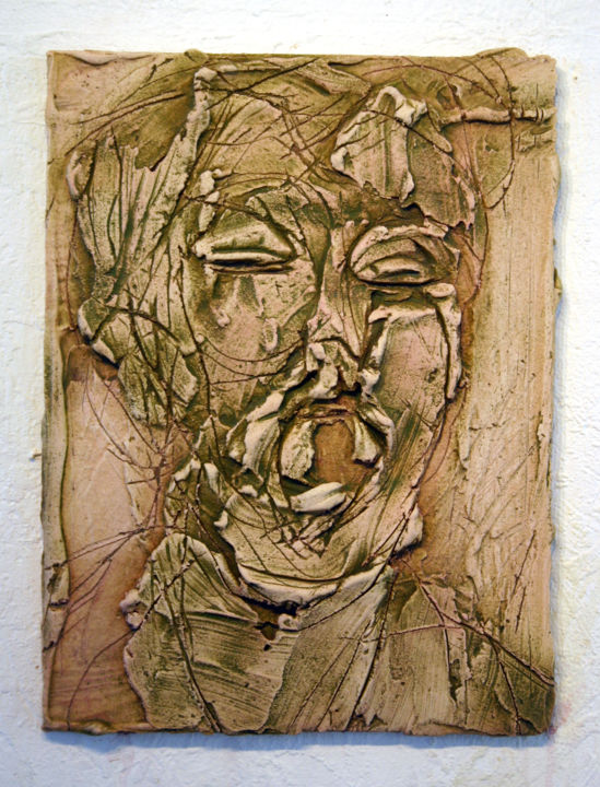 836-vf-35-30x40-2016.jpg - Painting,  40x30 cm ©2016 by Richard Brachais -                                                                                    Contemporary painting, Other, Wood, People, Portraits, portrait, figure, bas-relief