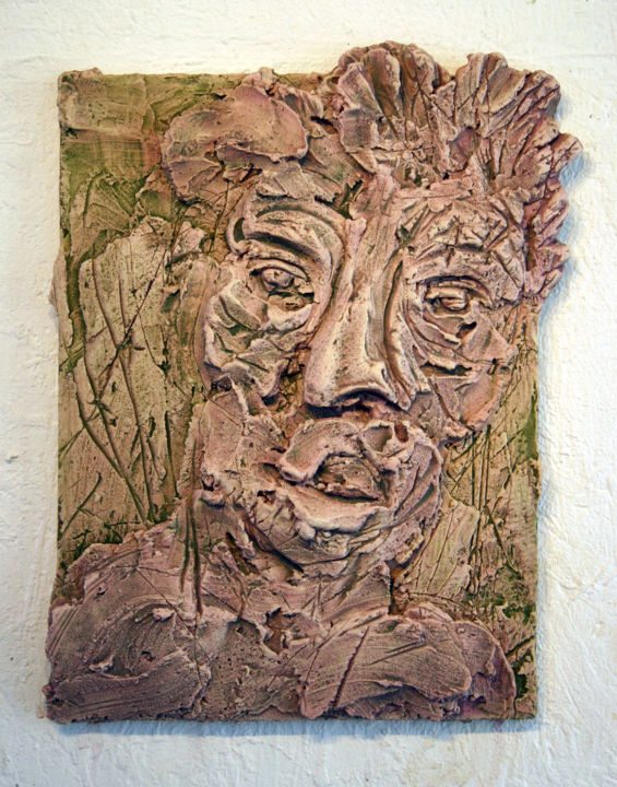 837-vf-36-30x40-2016.jpg - Painting,  40x30 cm ©2016 by Richard Brachais -                                                                                    Contemporary painting, Other, Wood, People, Portraits, portrait, figure, bas-relief