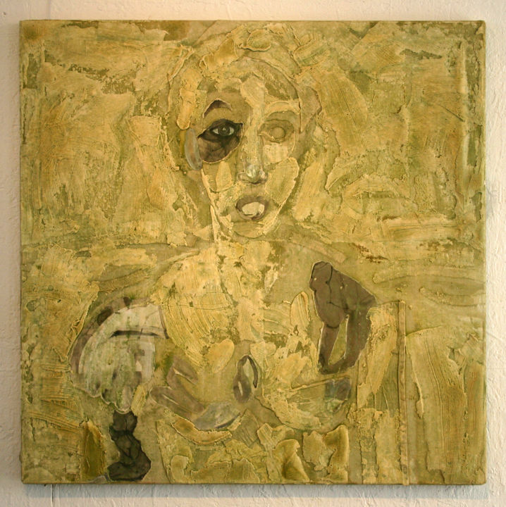 838-pi-80x80-2016.jpg - Painting,  80x80 cm ©2016 by Richard Brachais -                                                                        Contemporary painting, Other, Canvas, Portraits, portrait, figure, collage, abstraction