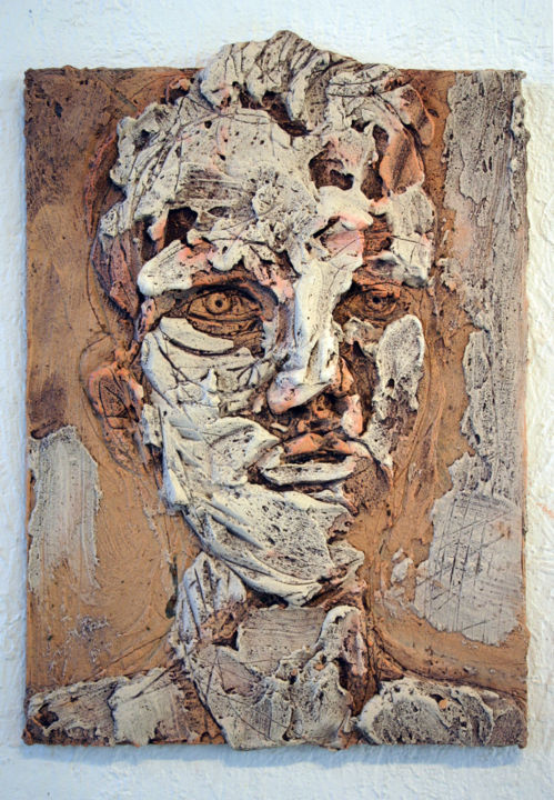 846-vf-42-30x40-2016.jpg - Painting,  15.8x11.8 in, ©2016 by Richard Brachais -                                                                                                                                                                                                                                                                                                  Other, Wood, Portraits, portrait, figuration, bas-relief
