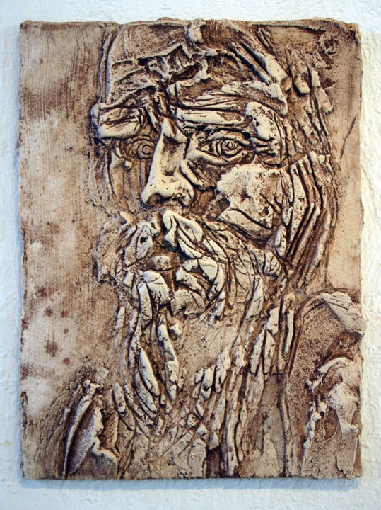 847-vf-43-30x40-2016.jpg - Painting,  15.8x11.8 in, ©2016 by Richard Brachais -                                                                                                                                                                                                                                                                                                  Other, Wood, Portraits, portrait, figuration, bas-relief
