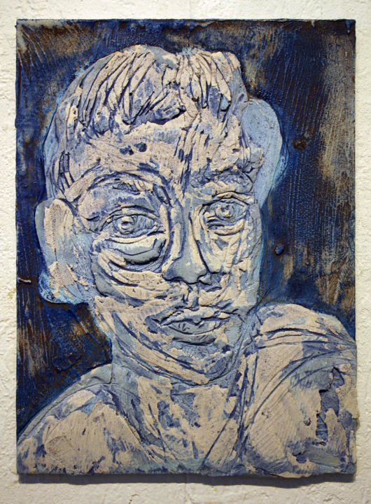 852-vf-44-30x40-2017.jpg - Painting,  15.8x11.8 in, ©2017 by Richard Brachais -                                                                                                                                                                                                                                                                                                                                                                                                                                                                                                                              Other, Wood, Body, Men, People, Portraits, corps, portrait, figuration, bas-relief, figure