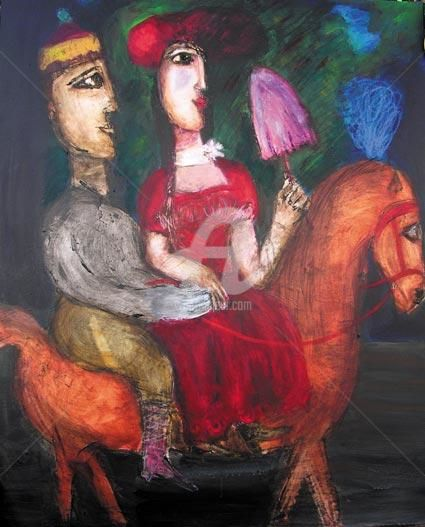 couple a cheval a l'ombrelle rose - Painting,  100x81 cm ©2005 by Elisabeth Brainos -