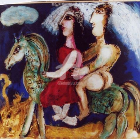 voyage de noces a cheval - Painting ©2000 by Elisabeth Brainos -