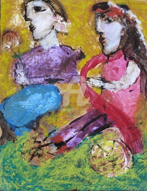 a travers champs - Painting,  41x33 cm ©2009 by Elisabeth Brainos -