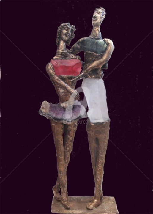 couple-de-danseurs-web.jpg - Sculpture,  65x22x11 cm ©2013 by Elisabeth Brainos -
