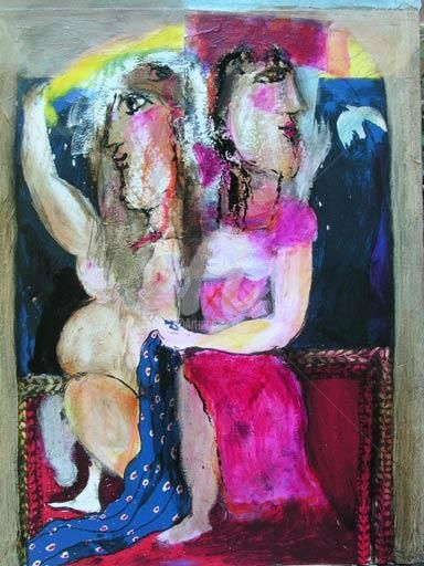 tapis volant - Painting,  25.6x19.7 in, ©2004 by Elisabeth Brainos -
