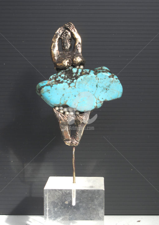 celle-a-la-jupe-turquoise.jpg - Sculpture,  3.4x2.4 in, ©2016 by Elisabeth Brainos -                                                                                                                                                                                                                                                                                                                                                                                                                                                                                                      Figurative, figurative-594, Bronze, Stone, Women, femme bronze, , bronze et turquoise, sculpture bronze et turquoise, elisabeth brainos