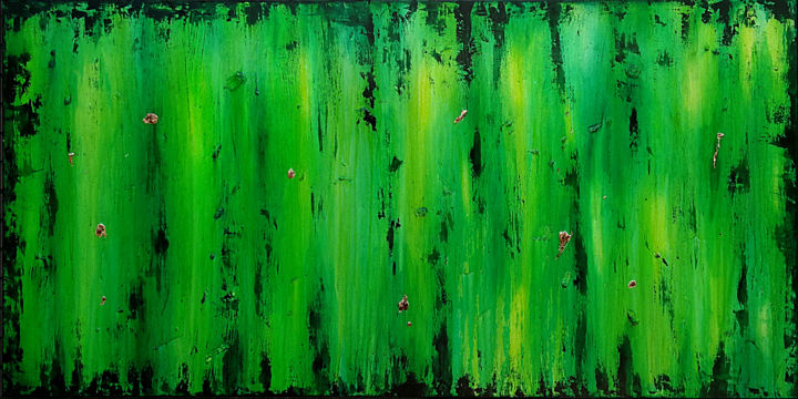 Green Mile - Peinture,  39,4x78,7x1,2 in, ©2018 par Branisa Beric -                                                                                                                                                                                                                                                                                                                                                                                                          Abstract, abstract-570, Art abstrait, green, green abstract art, extra large art, supersized art, green acrylic