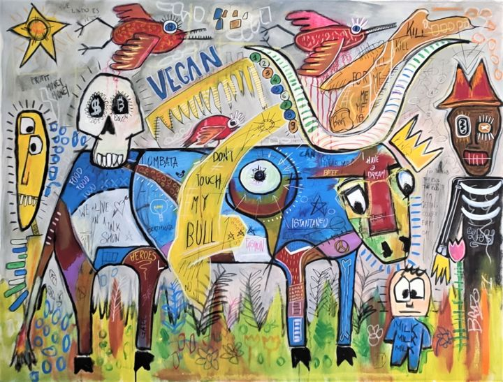 """Painting titled """"Dont touch my bull"""" by Brazo, Original Art, Acrylic"""