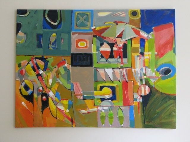 Key Largo - Painting,  48x36 in ©2009 by brendan walsh -                        Abstract Art