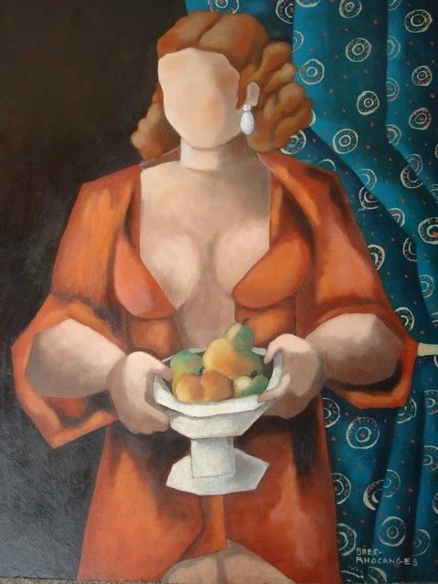 Pomona - Painting,  16.1x13 in, ©2006 by Catherine BRES-RHOCANGES -                                                              femme avec une coupe de fruits