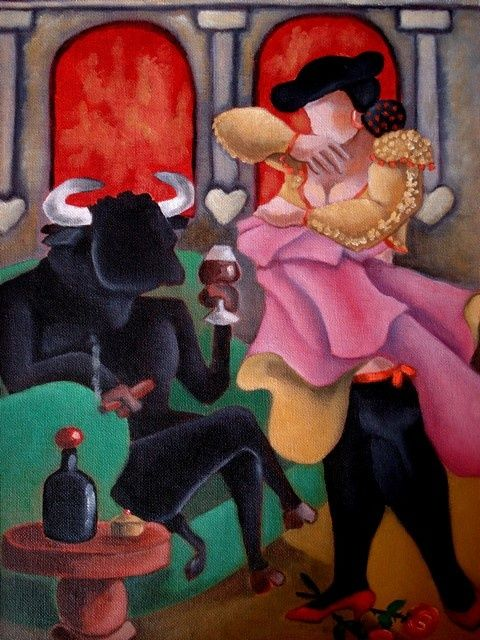 Toreo de salon... - Painting,  15.8x11.8 in, ©2010 by Catherine BRES-RHOCANGES -                                                              Combat ou (et) séduction...