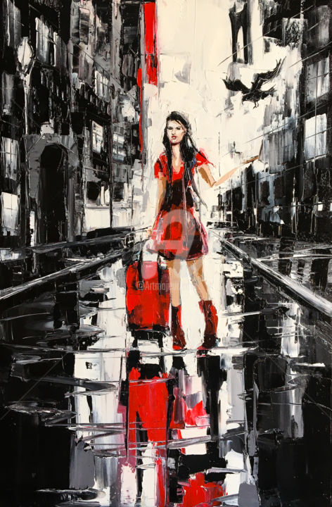 Out of city - Painting,  75x50x2 cm ©2018 by Lana -                                                                                    Surrealism, Canvas, Cities, People, Travel, girl, woman, travel, journey, vagabond, suitcase, red, dress, red dress, oil on canvas, artwork, art, paiting, palette knife, street, wet, rain, building, walls, walk, reflecion