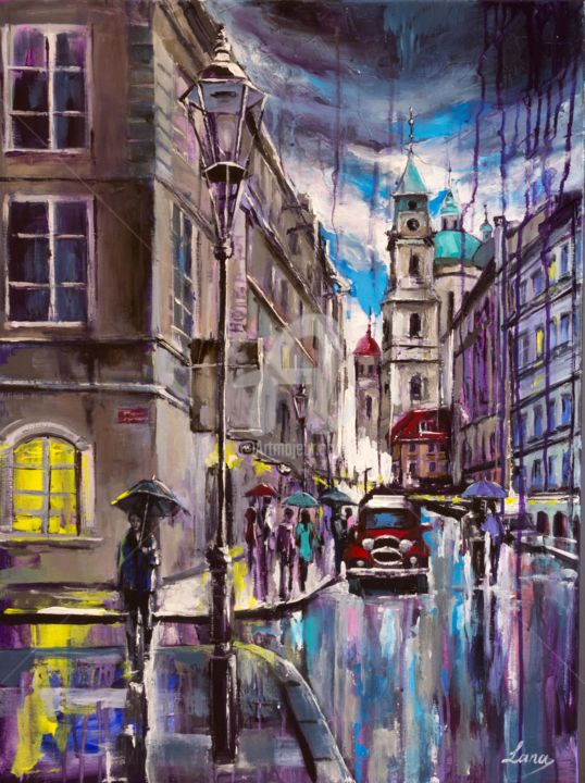 Praga. Mostecka. - Painting,  70x50x2 cm ©2018 by Svetlana Tikhonova -                                                                                                Contemporary painting, Impressionism, Canvas, Cities, Landscape, Travel, tourist attraction, touristic area, building, car, cathedral, church, cloud, clouds, colorful, dusk, gift, giftidea, gift idea, idea, lamp, light, old, original, people, post, pouring, Prague, Praha, Prag, shadow, shape, shapes, sidewalk, silhouette, sky, street, tourism, touristic, traveling, umbrella, umbrellas, unusual, window, streetlight, yellow, travel, unique, rain, wet, pavement