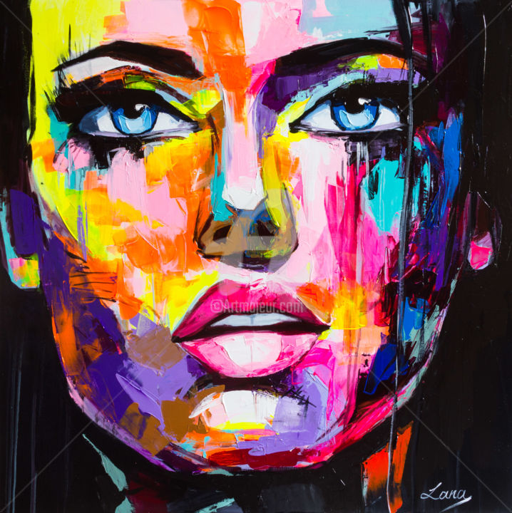 Kitty - Painting,  31.5x31.5x0.8 in, ©2019 by Lana -                                                                                                                                                                                                                                                                                                                                                                                                                                                                                                                                                                                                                                                                                                                                                                                                                                                                                                                                                                                                                                                                                                                                                                                                                                                                                                                          Abstract, abstract-570, People, Portraits, Women, face, eyes, girl, woman, portrait, woman's portrait, girl's portrait, colorful, emotions, emotion, emotional, colorful emotions, colorful portrait, fantasy, vivid, vibrant, palette knife, canvas, hand made, unique, one of a kind, style, fashion