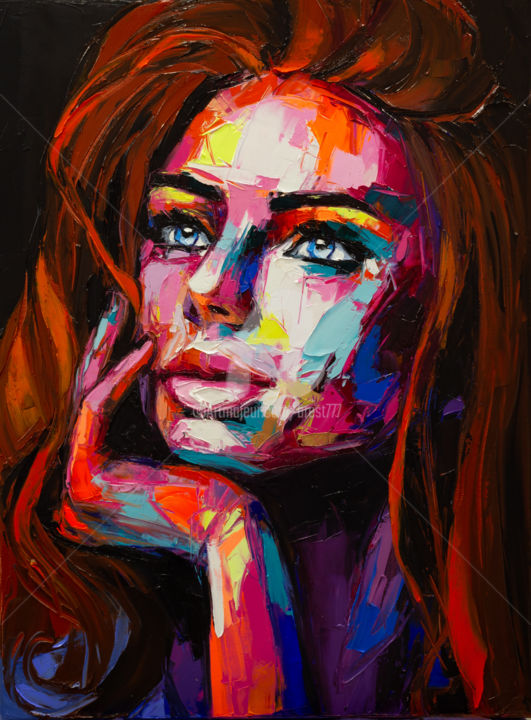 In the shadow of fire - Painting,  31.5x23.6x0.8 in, ©2019 by Lana -                                                                                                                                                                                                                                                                                                                                                                                                                                                                                                                                                                                                                                                                                                                                                                                                                                                                                                                                                                                                                                                                                                                                                                                      Expressionism, expressionism-591, People, Portraits, Women, red, ginger, girl, hand, colorful, emotion, emotions, look, expression, vivid, bold, vibrant, colorful emotions, art, artwork, oil on canvas, unique style, woman's portrait, girl's portrait, fantasy portrait