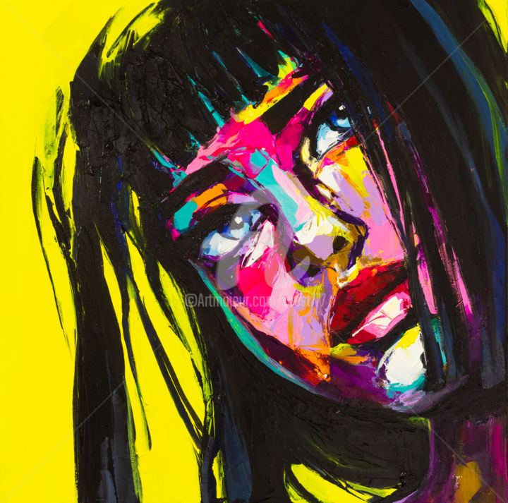 Buttercup - Painting,  19.7x19.7x0.8 in, ©2019 by Lana -                                                                                                                                                                                                                                                                                                                                                                                                                                                                                                                                                                                                                                                                                                                                                                                                                                                                                                                                                                                                                                                  Pop Art, pop-art-615, People, Portraits, Women, girl, curious, look up, emotion, expression, eyes, beautiful, colorful, vivid, vibrant, bold, unique, original, palette knife, modern, femme, fille