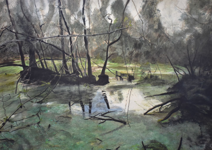 """Painting titled """"Swamp Near the Point"""" by Brett Buckley, Original Art, Acrylic Mounted on Wood Panel"""