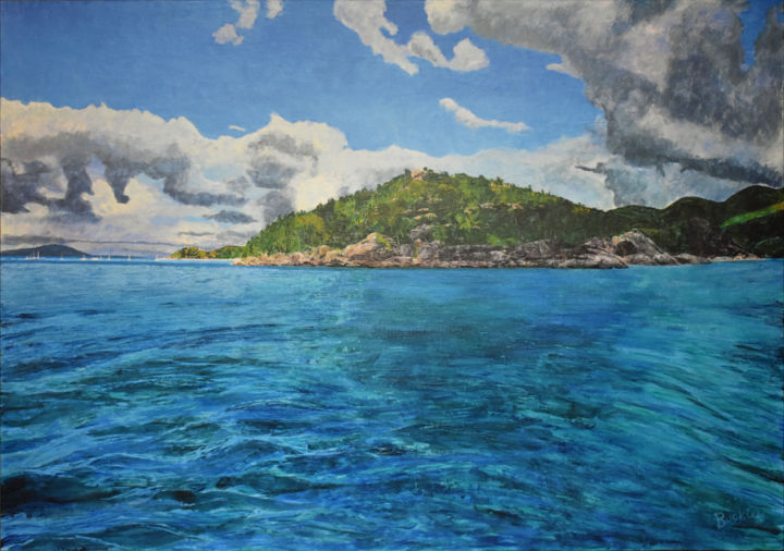 """Painting titled """"Island Arrival"""" by Brett Buckley, Original Art, Acrylic Mounted on Wood Panel"""