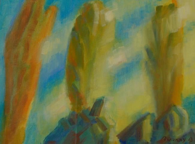 """Painting titled """"trees"""" by András Breznay, Original Art, Oil Mounted on Stretcher frame"""