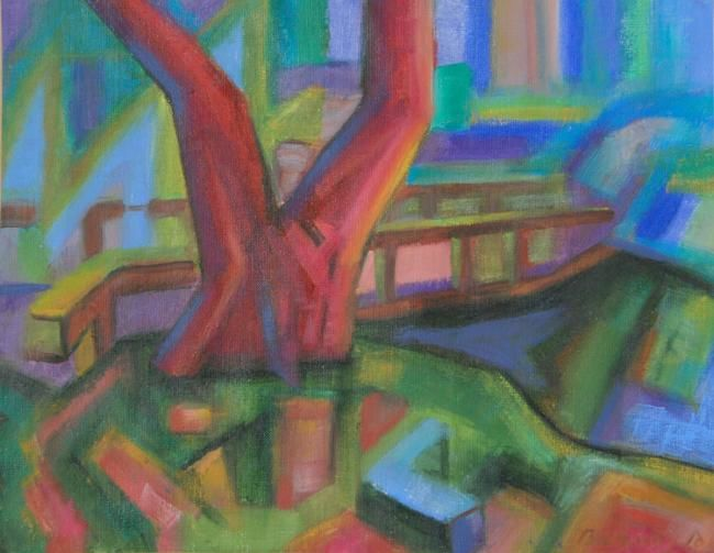 """Painting titled """"bridge"""" by András Breznay, Original Art,"""