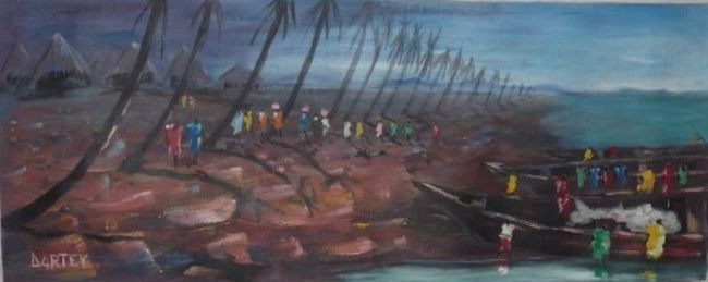 Painting,  30 x 90 cm ©2012 by Dartey  Bright -  Painting, SEA