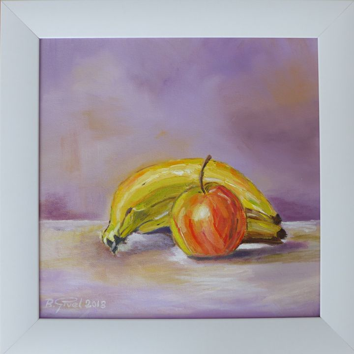 Fruits - Painting,  30x30x1.5 cm ©2018 by B. Givel -                                                        Contemporary painting, Pulpboard, Still life