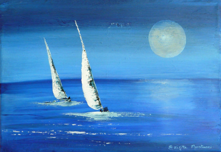 Moonlight - Painting,  9.5x13.8x0.8 in, ©2017 by Brigitte Mostacci -                                                                                                                                                                                                                                                                                                                                                                                                                                                      Abstract, abstract-570, Seascape, bateau, voilier, bleu, mer, lune, clair de lune
