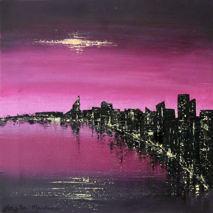 Purple City - Painting,  15.2x15.2x0.8 in, ©2017 by Brigitte Mostacci -                                                                                                                                                                                                                                                                                                                                                                                                                                                                                                  Abstract, abstract-570, Cityscape, rose, pourpre, noir, mer, ville*, baie, nuit