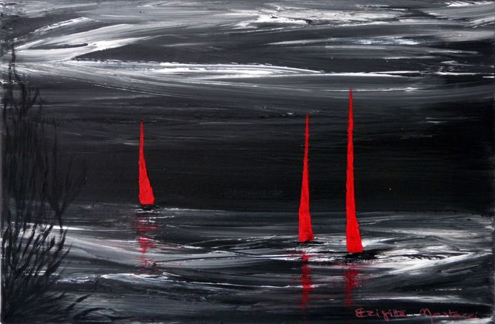 Voiles Rouges - Painting,  10.6x16.1x0.8 in, ©2017 by Brigitte Mostacci -                                                                                                                                                                                                                                                                                                                                                                                                                                                                                                  Abstract, abstract-570, Seascape, noir, blanc, rouge, voilier, bateau, nuit, voile