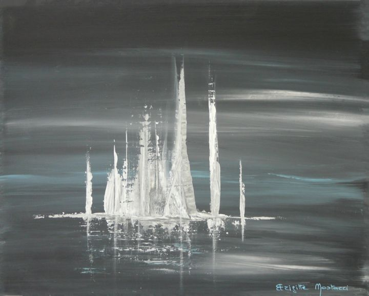 Voiles Blanches - Painting,  13x16.1x0.8 in, ©2017 by Brigitte Mostacci -                                                                                                                                                                                                                                                                                                                                                                                                                                                      Abstract, abstract-570, Seascape, bleu, gris, mer, voilier, voile, orage