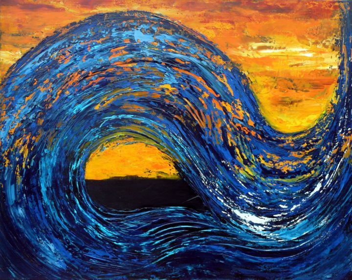 Blue Wave - Painting,  28.7x36.2x0.8 in, ©2015 by Brigitte Mostacci -                                                                                                                                                                                                                                                                                                                                                                                                                                                                                                  Abstract, abstract-570, Abstract Art, mer, vague, soleil, couchant, bleu, jaune, orange