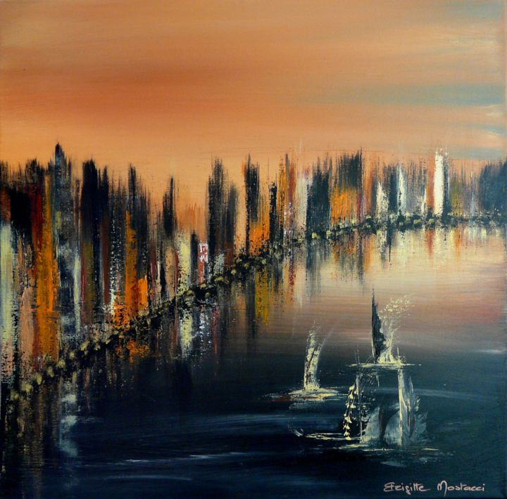 Skyline - Painting,  19.7x19.7x1.2 in, ©2017 by Brigitte Mostacci -                                                                                                                                                                                                                                                                                                                                                                                                                                                                                                                                              Abstract, abstract-570, Abstract Art, ville, mer, bateau, couchant, soleil, noir, or, orange