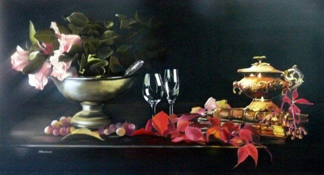 NATURE MORTE COMPOSEE - Painting,  20.9x39.4 in, ©2011 by Brigitte Bouron -                                                                                                                                                                          Classicism, classicism-933, Nature morte composée de livres roses feuilles cuivre verre