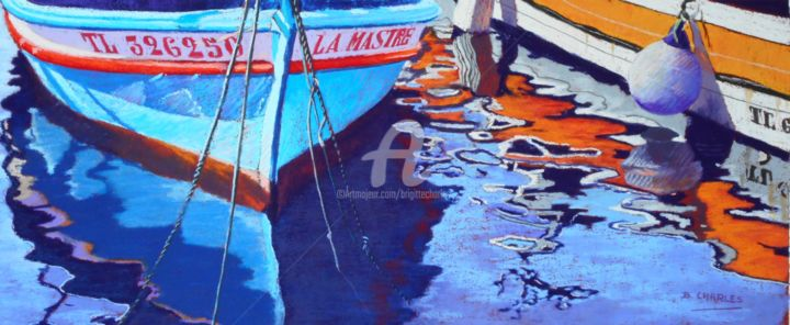 LA MASTRE - Painting,  39x74 cm ©2017 by Brigitte CHARLES -                                        Realism, Boat