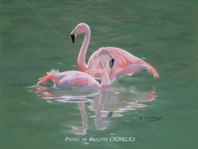 FLAMANDS ROSES - Painting,  65x50 cm ©2007 by Brigitte CHARLES -                            Realism, Animaux, flamands roses