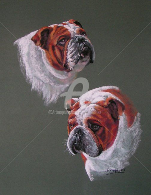 VIRGILE - Painting,  70x60 cm ©2009 by Brigitte CHARLES -                            Realism, ANIMAUX