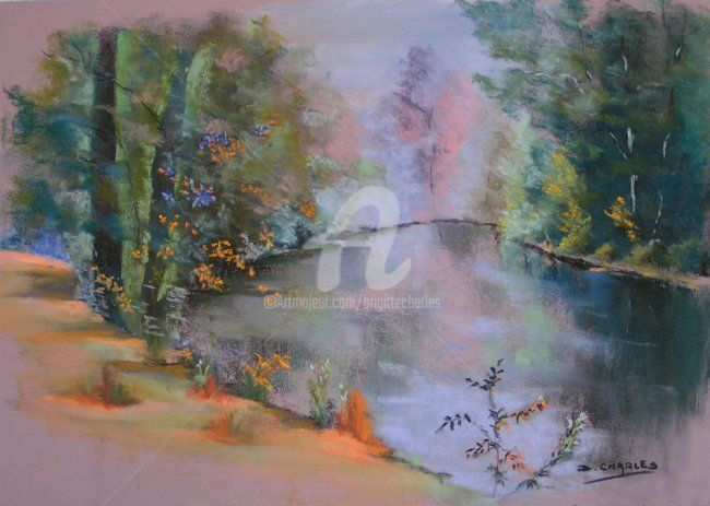 REFLETS DANS LE LYS (49) - Painting,  15.8x19.7 in, ©2009 by Brigitte Charles -                                                                                                                                                                          Figurative, figurative-594, paysage