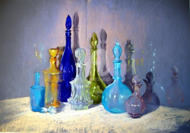 Miroitement de carafes - Painting,  18.5x26.4x0.4 in, ©2013 by Brigitte Charles -                                                                                                                                                                          Figurative, figurative-594, carafes