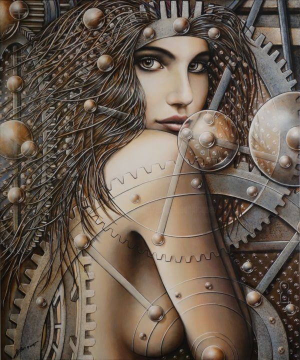 intemporelle-120x100-cm.jpg - Painting,  120x100x4.5 cm ©2017 by Jean-Jacques BRIQUET -                                                                                                                        Figurative Art, Canvas, Nude, Comics, Fantasy, Women, Gothic, Time, nu, steampunk, beauté, horlogerie, reine, bubble grid art, temps, Portrait de femme sensuelle