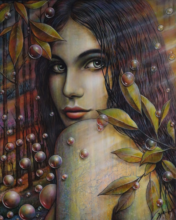 """ELORA"" - Painting,  81x65x2.5 cm ©2017 by Jean-Jacques BRIQUET -                                                                                                Figurative Art, Fabric, Love / Romance, Women, Nature, Seasons, jeune femme, bulles, nature, automne, Portrait sensuel féminin"