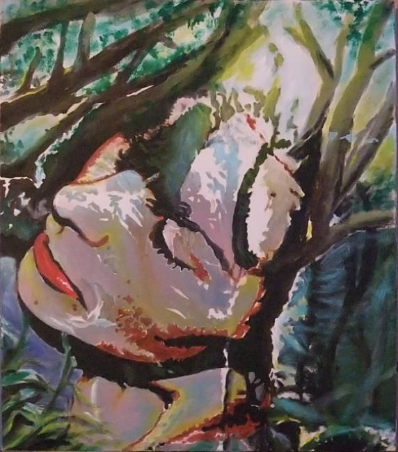 Jeune fille en osmose avec la forêt - Painting,  55x46x2.5 cm ©2012 by Jean-Jacques BRIQUET -                                                                                                                                                                        Contemporary painting, Environmental Art, Figurative Art, Street Art (Urban Art), Canvas, Women, People, Portraits, Tree, Fantasy, Nature, Landscape, tableau du portrait d'une jeune fille en osmose avec la forêt, lumière, profondeur, intrigue, nature, forêt