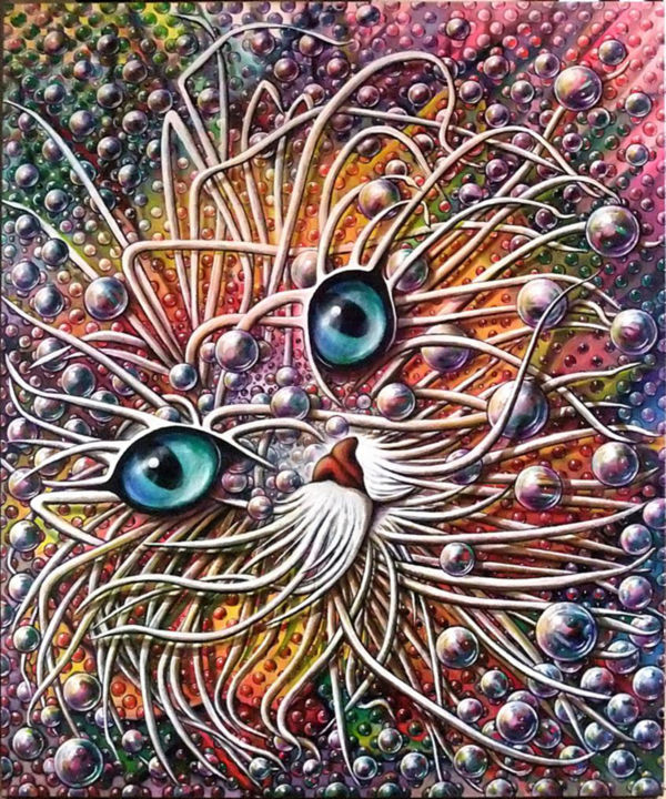 chat et constellation - Painting,  120x100 cm ©2013 by Jean-Jacques BRIQUET -                                            Contemporary painting, Cats, Chat, yeux, bulles, constellation, étoiles, planètes, bubble trame art