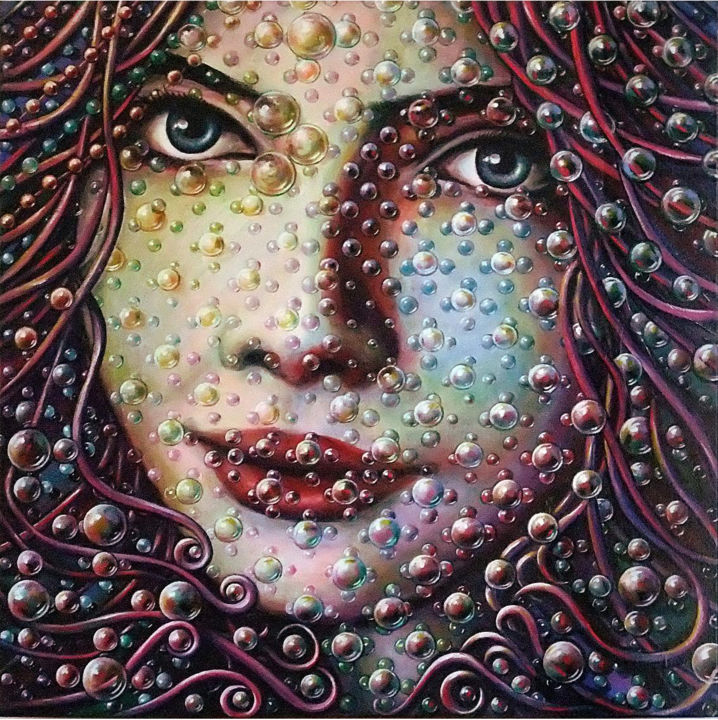 Le regard - Painting,  31.5x1.6x31.5 in, ©2013 by Jean-Jacques BRIQUET -                                                                                                                                                                                                                                                                                                                                                                                                                                                                                                                                                                                                                                                              Love / Romance, Colors, Fantasy, Women, Portraits, portrait de jeune fille, bulles, planètes, regard, mystère, bubble grid art, bubble raster art, pop art, Mangas