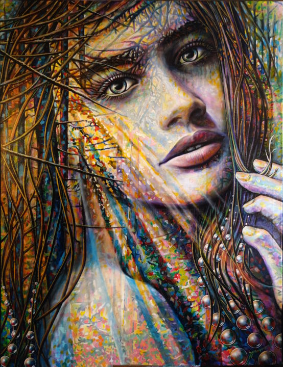 """phaedra"" - Painting,  51.2x39.4x1 in, ©2016 by Jean-Jacques BRIQUET -                                                                                                                                                                                                                                                                                                                                                                                                                                                                                                                                                                                                                                                                                  Figurative, figurative-594, Love / Romance, Women, Nature, Portraits, Fantasy, nature, bulles, Portrait sensuel féminin, Rayon de soleil en forêt, évasion, transparence, zénitude"