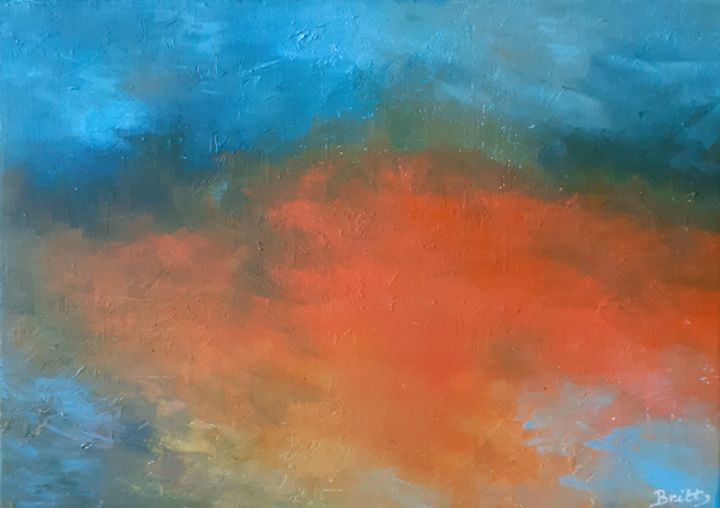 Crépuscule - Painting,  7.5x10.6x0.4 in, ©2020 by Britt -                                                                                                                                                                                                                                                                                                                                                              Abstract, abstract-570, Time, lumière, couleurs, ciel, temps
