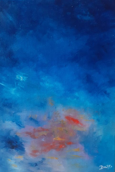 L'aube - Painting,  10.6x7.5x0.4 in, ©2020 by Britt -                                                                                                                                                                                                                                                                                                                                                              Abstract, abstract-570, Time, couleurs, ciel, jour, aube